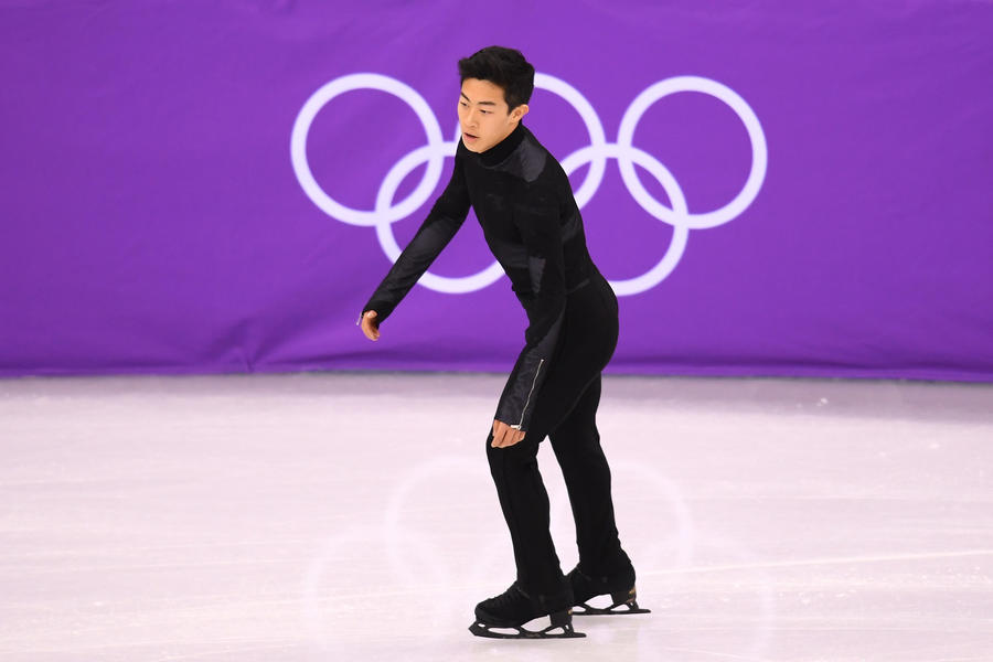 Nathan Chen during the figure skating team event. (Harry How)