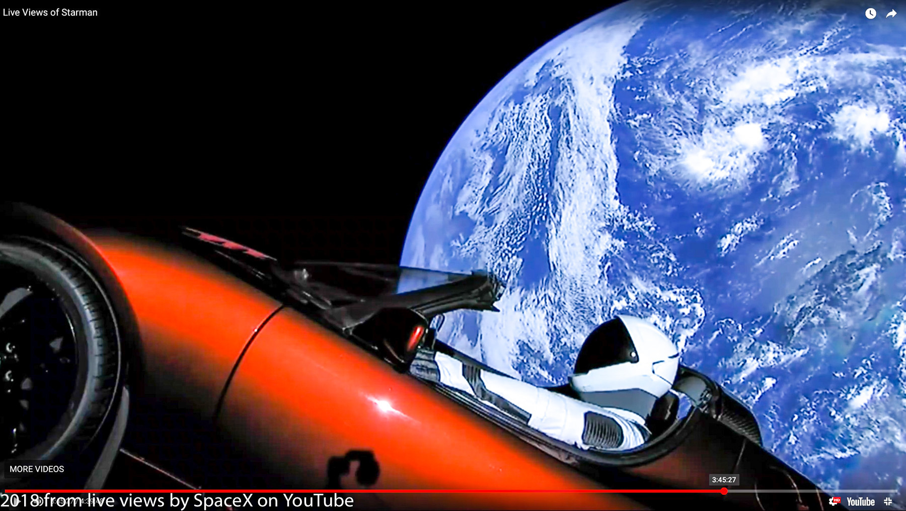tesla car in space live. 01619-20180206 spacex falcon heavy test launch incl spaceman \u0026 elon musk tesla roadster- car in space live