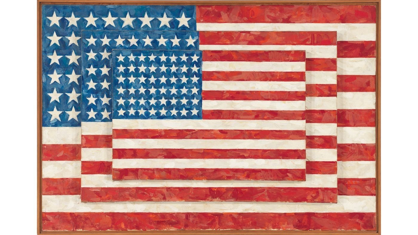 """""""Three Flags,"""" 1958, by Jasper Johns — from an exhibition at the Broad museum."""