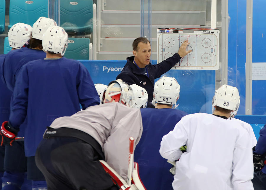 Coach Tony Granato runs a U.S. men's hockey practice at the Gangneung Hockey Center on Feb. 9. (Bruce Bennett / Getty Images)