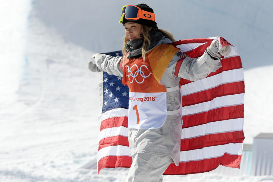 Chloe Kim finished with a score of 93.75 during her first run on the halfpipe. (Cameron Spencer)