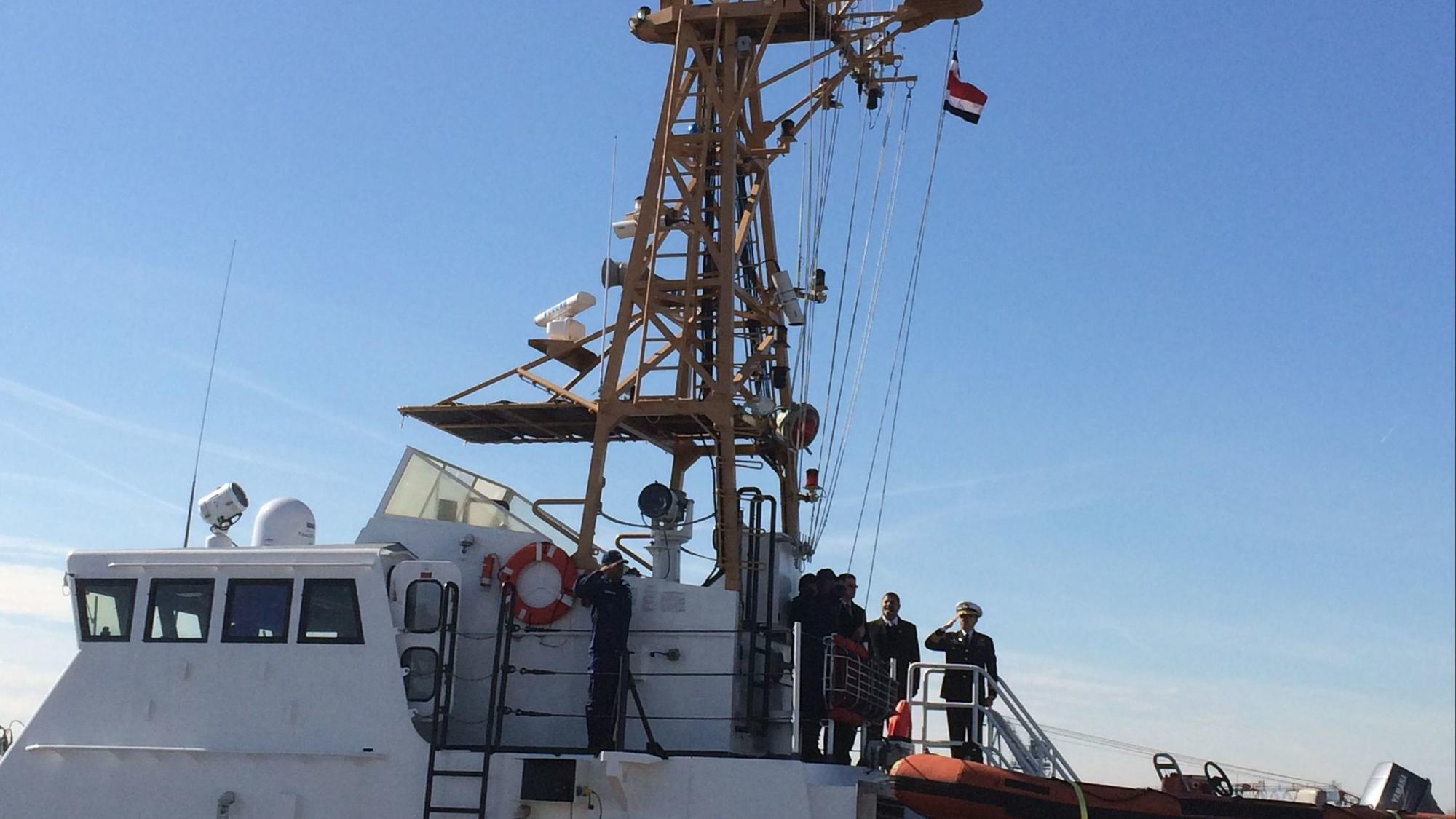 Costa Rica officials in Baltimore raise new flag on old U.S. Coast Guard patrol boats