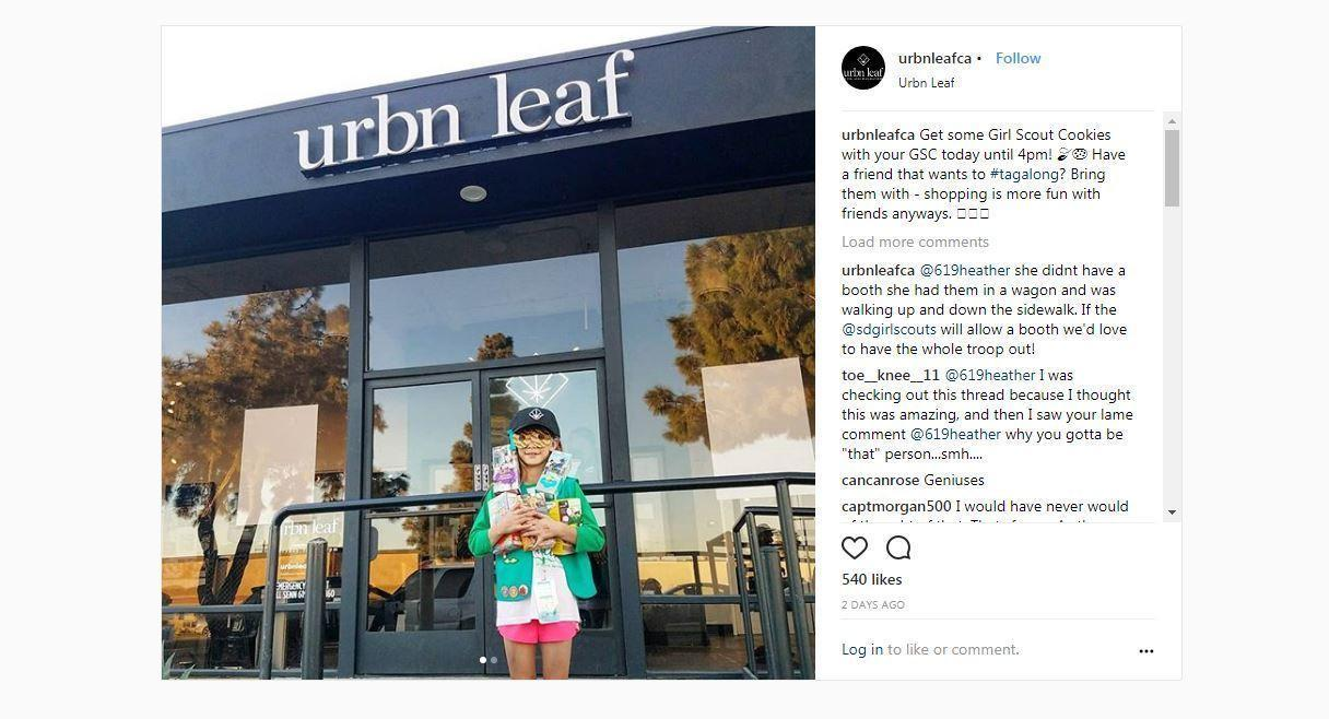 san diego girl sold 312 girl scout cookie boxes outside