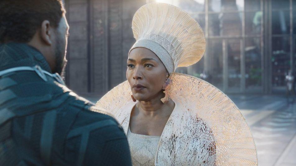 """Chadwick Boseman and Ramonda Angela Bassett in a scene from """"Black Panther."""""""