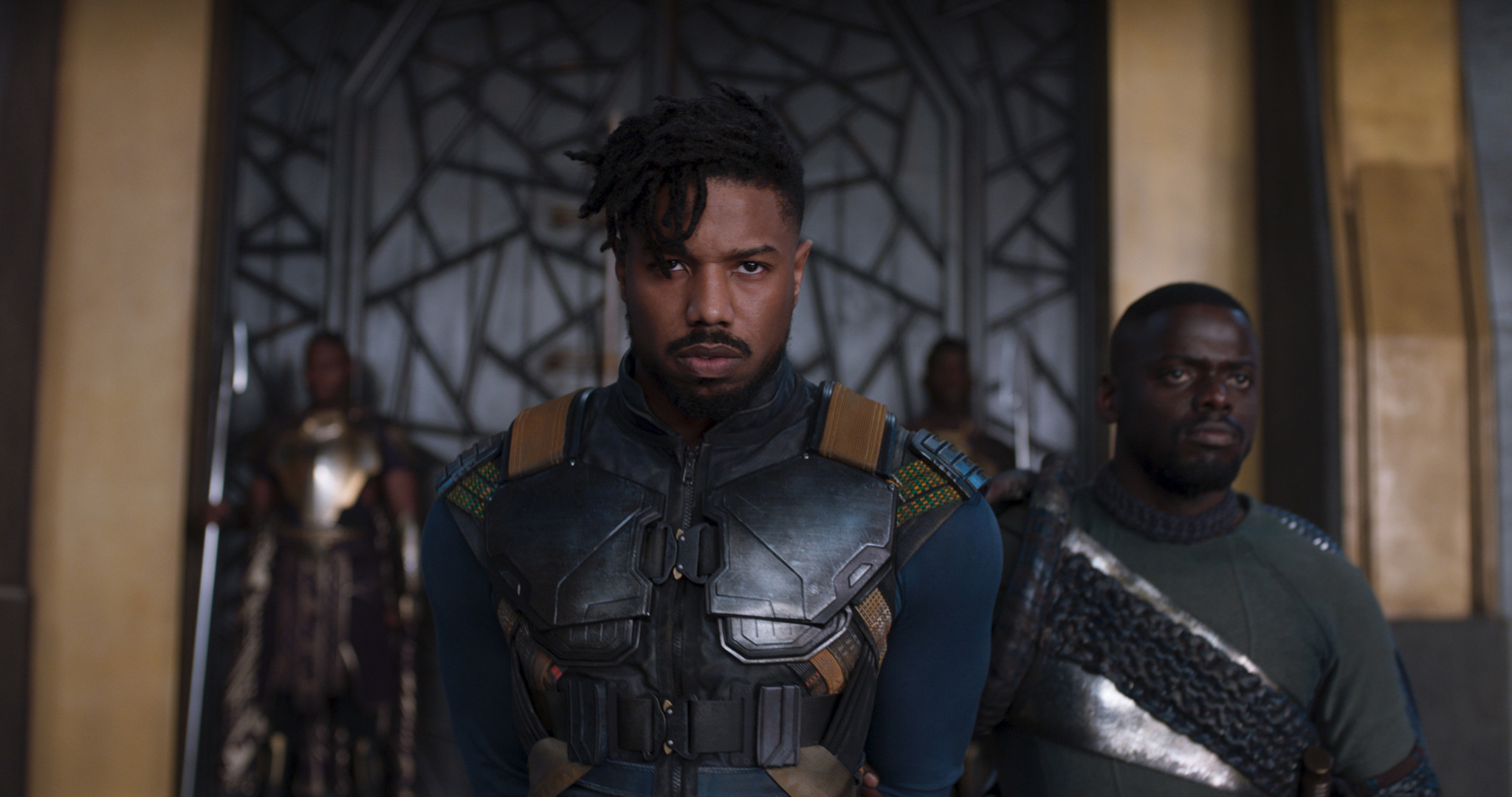 "(L-R) - Erik Killmonger (Michael B. Jordan) and W'Kabi (Daniel Kaluuya) in a scene from Marvel's ""B"