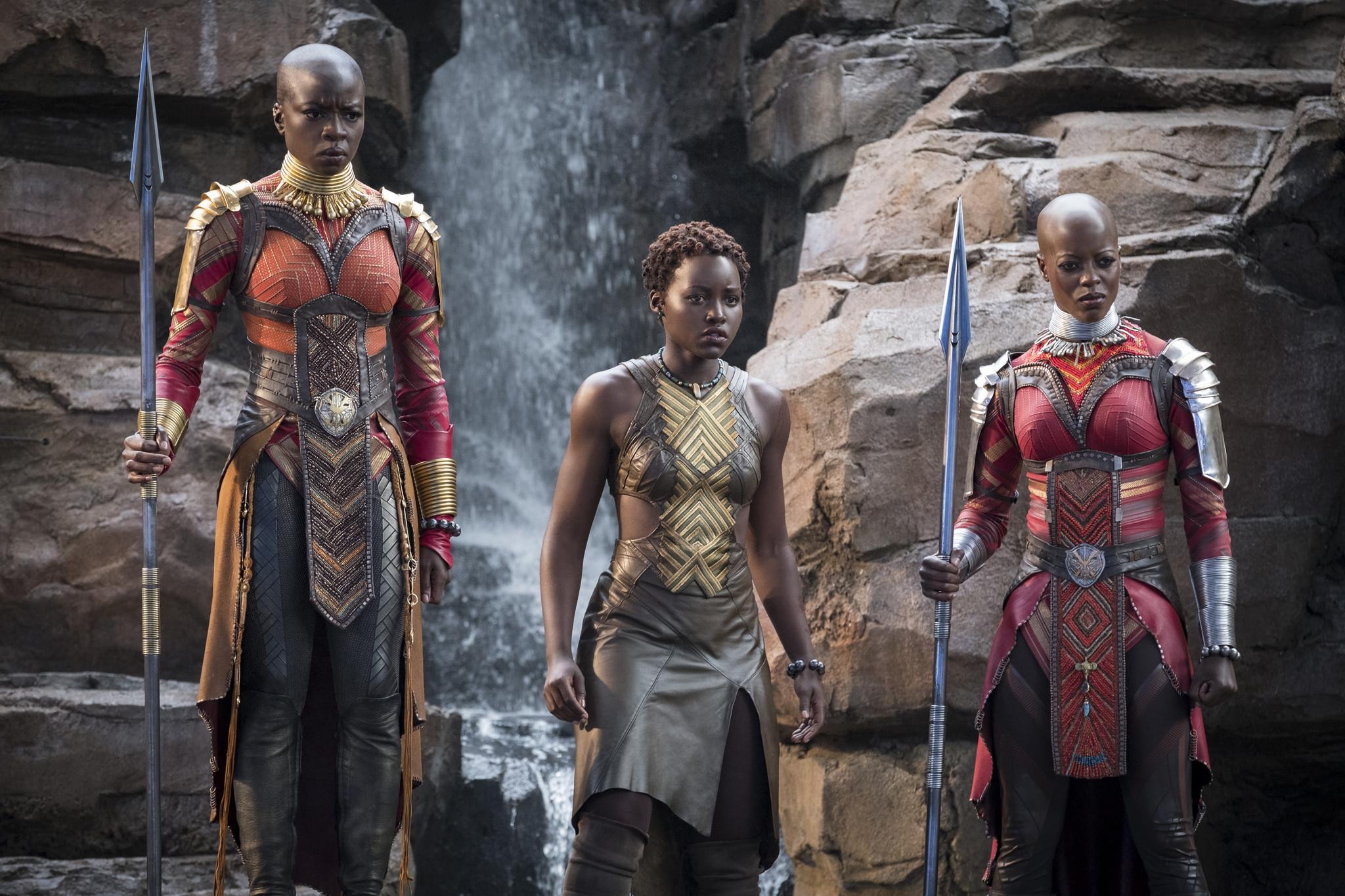 (L-R) - Okoye (Danai Gurira), Nakia (Lupita Nyong'o) and Ayo (Florence Kasumba) in a scene from Mar