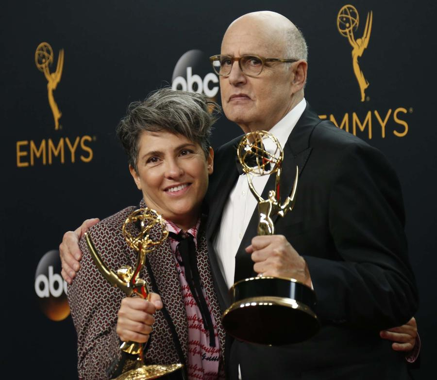 Jill Soloway and Jeffrey Tambor at the Emmy Awards in 2016. (Allen J. Schaben / Los Angeles Times)