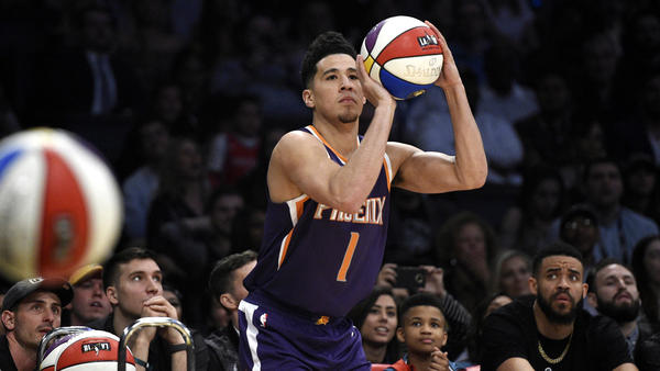 Suns' Devin Booker breaks Steph Curry-Klay Thompson record in winning Three-Point Contest