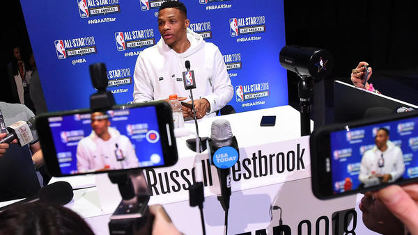 Russell Westbrook not amused by fans' chants for Paul George to return to L.A.