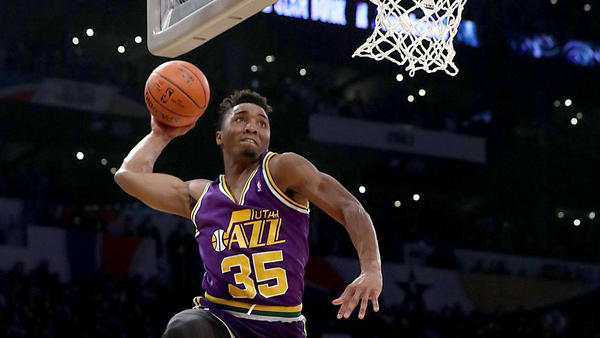 Donovan Mitchell outduels Larry Nance Jr. to win NBA's Slam Dunk Contest