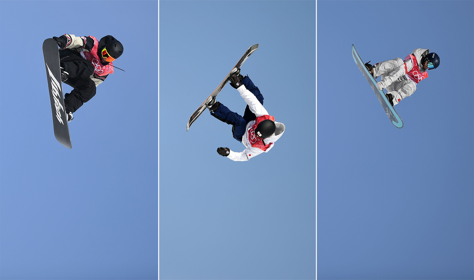tyler nicholson of canada hiroaki kunitake of japan and ryan stassel in action during the big air snowboard competition at the 2018 winter olympics in