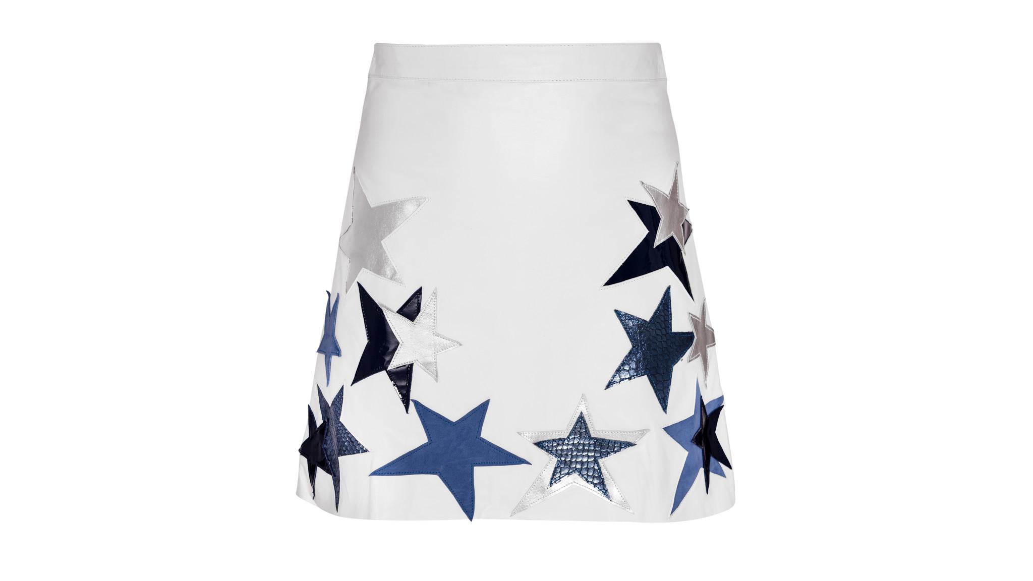 Designer: Manokhi Photo credit: Constin Lazarescu Manokhi's white leather mini-skirt has blue py