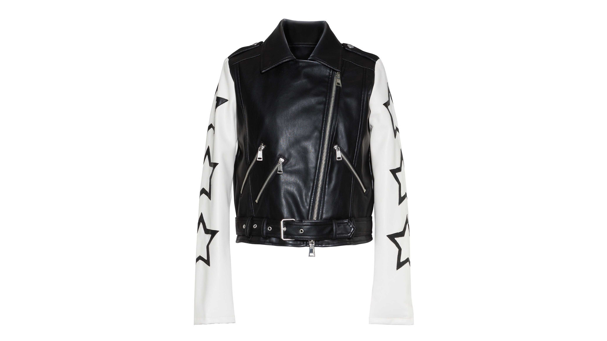 Designer: Twin Set Photo credit: Twin Set Twin Set's edgy faux leather urban black biker jacket has