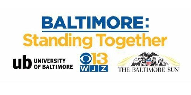Baltimore Standing Together and The Sun, WJZ, UB logos