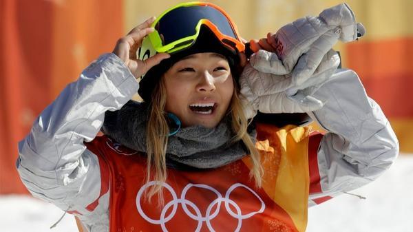Chloe Kim at the women's snowboarding halfpipe finals (Lee Jin-man / Associated Press)