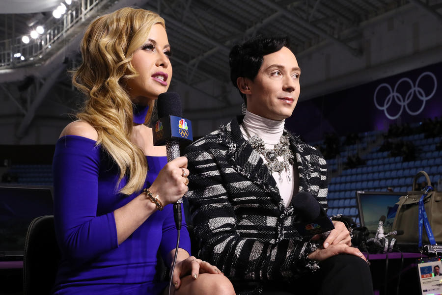 Figure skating commentators Tara Lipinski and Johnny Weir will host NBC's prime-time broadcast of the Winter Olympics closing ceremony. (Jamie Squire / Getty Images)