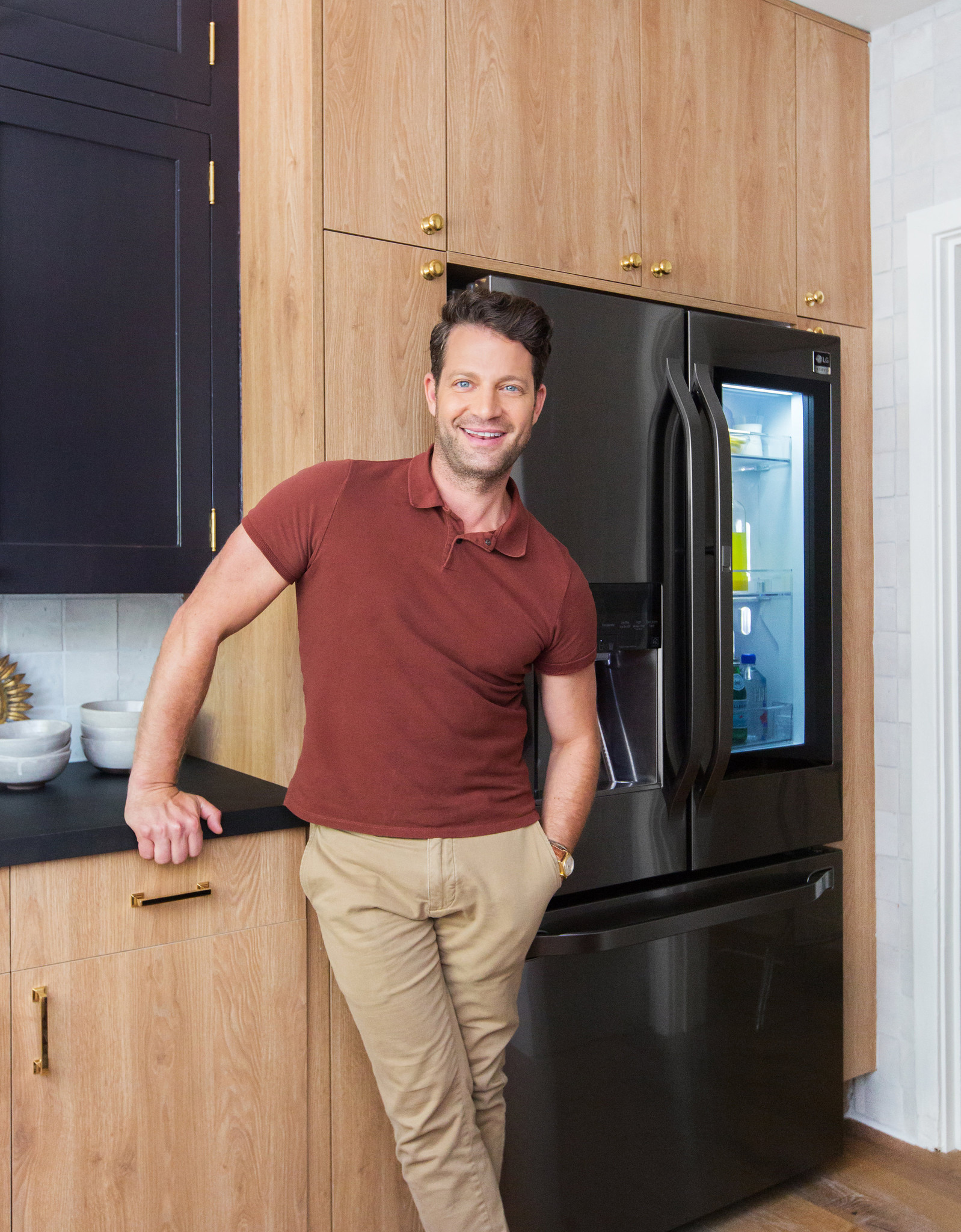 Nate Berkus, Artistic Advisor for LG Studio, in a recently renovated 80 square foot kitchen, in the
