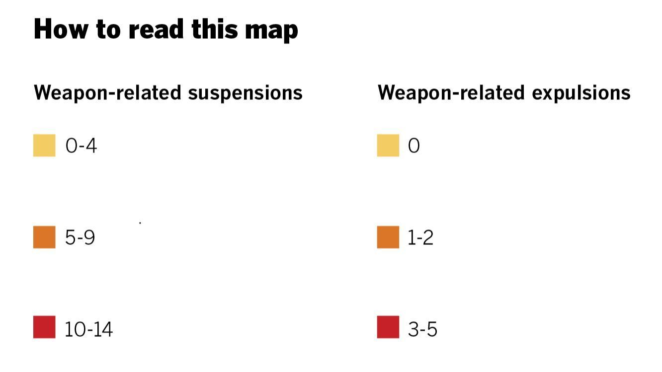 Interactive map shows school expulsions, suspensions for weapons in San Diego County