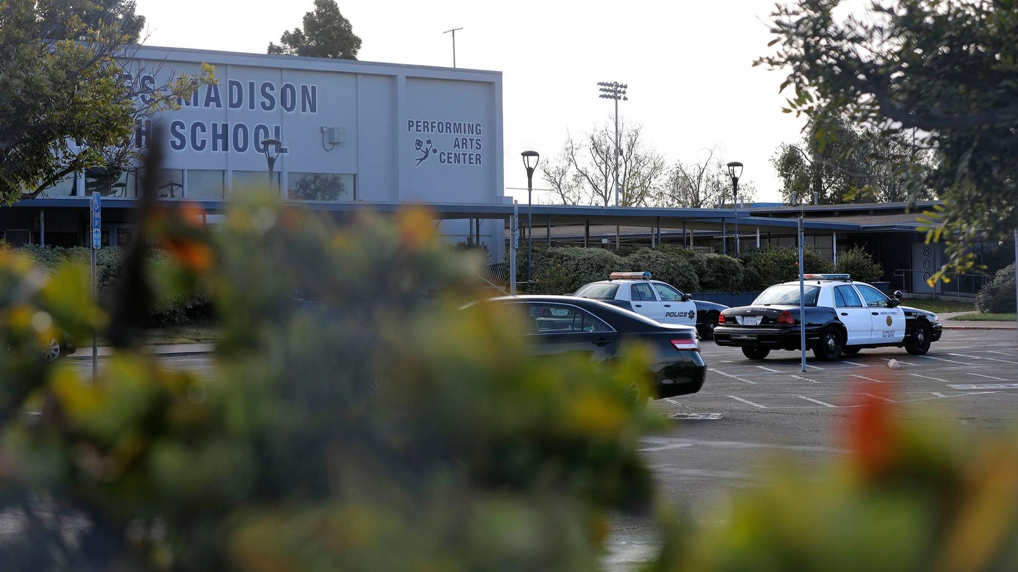 SAN DIEGO, CA: FEBRUARY 22, 2018: A police presence is evident at Madison High School in Clairemont
