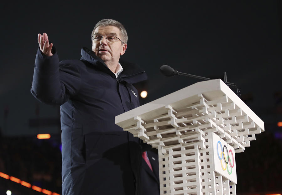 Thomas Bach, president of the International Olympic Committee, speaks during the opening ceremony of the 2018 Winter Olympics. (Clive Mason/Associated Press)