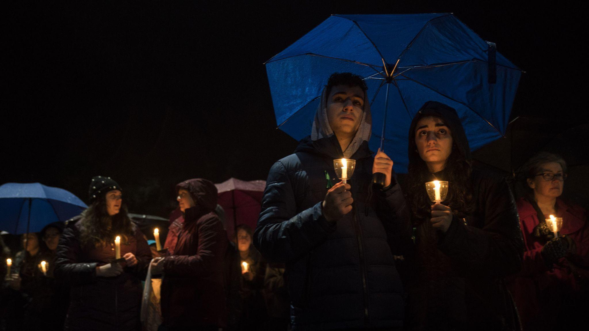 Newton, Conn., vigil for Parkland, Fla., shooting victims