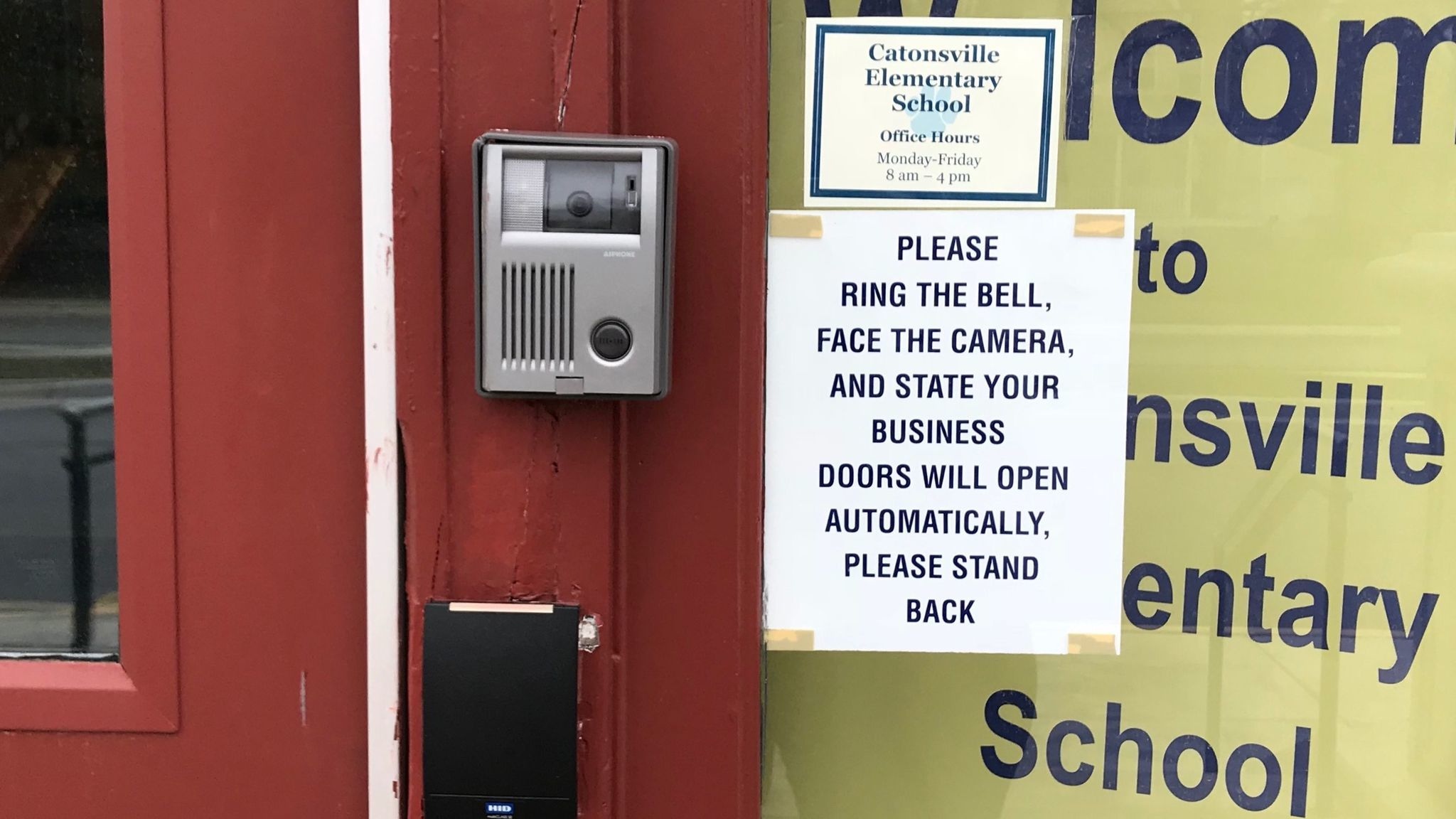 An entry buzzer with a camera is shown outside Catonsville Elementary School on Feb. 26, 2018.