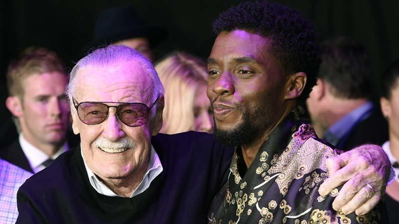 "Stan Lee, left, and star Chadwick Boseman at the ""Black Panther"" world premiere in January. (Chris Pizzello / Associated Press)"