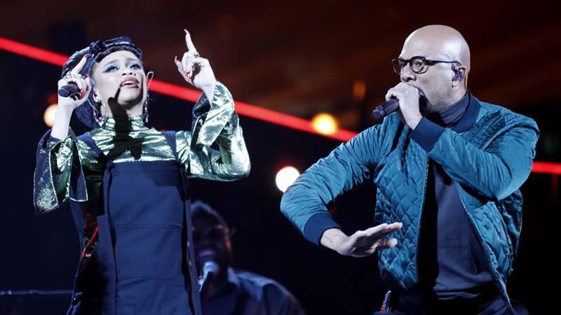 Andra Day, left, and Common perform during the 2018 NBA All-Star Game in February. (Luis Sinco / Los Angeles Times)