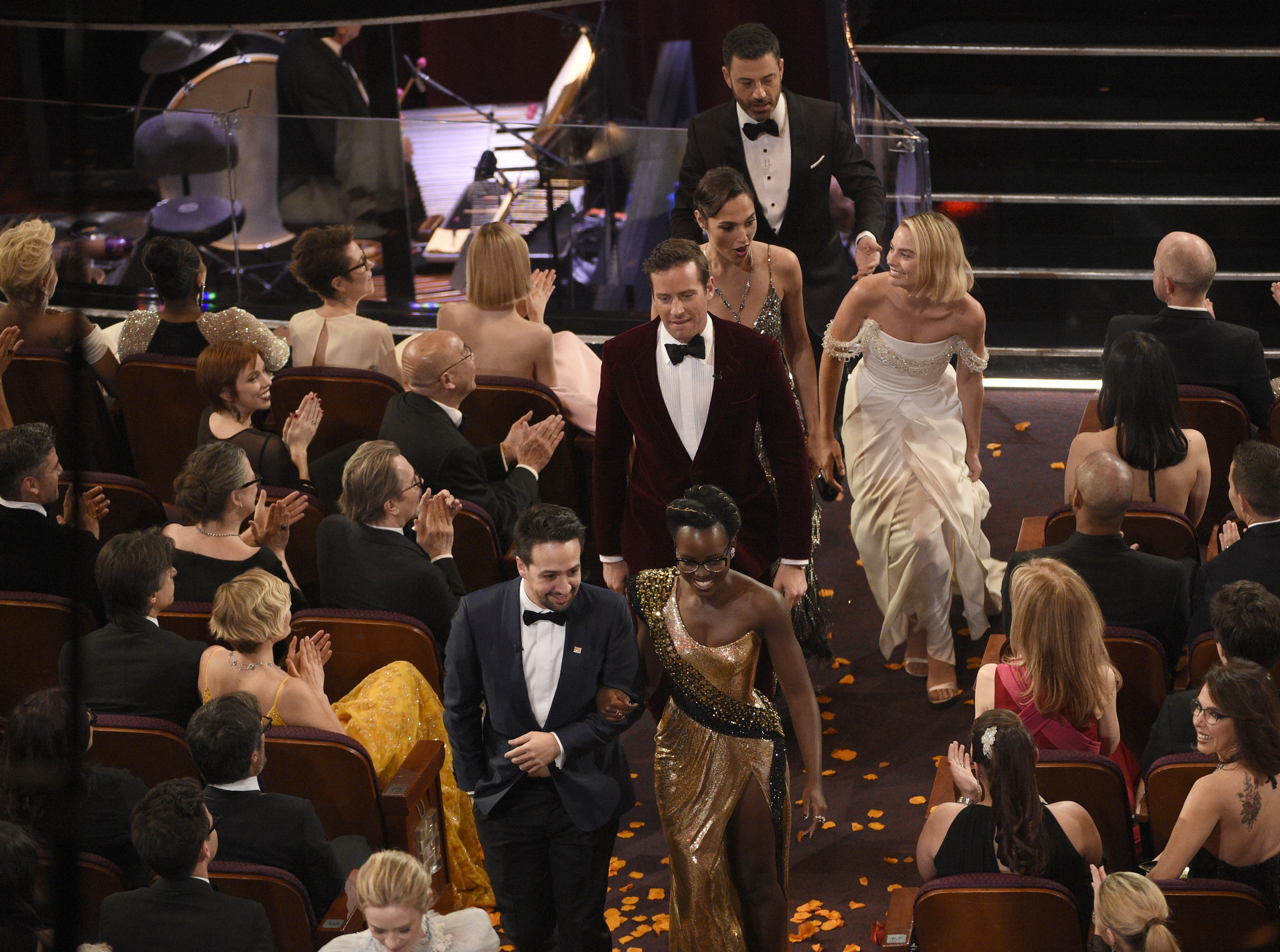 to greetLin-Manuel Miranda, Lupita Nyong'o, Armie Hammer, Gal Gadot, Jimmy Kimmel, Margot Robb
