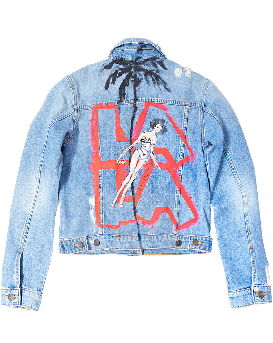 Ten one-of-a-kind jean jackets with Donald Robertson hand-painted illustrations were created to cele