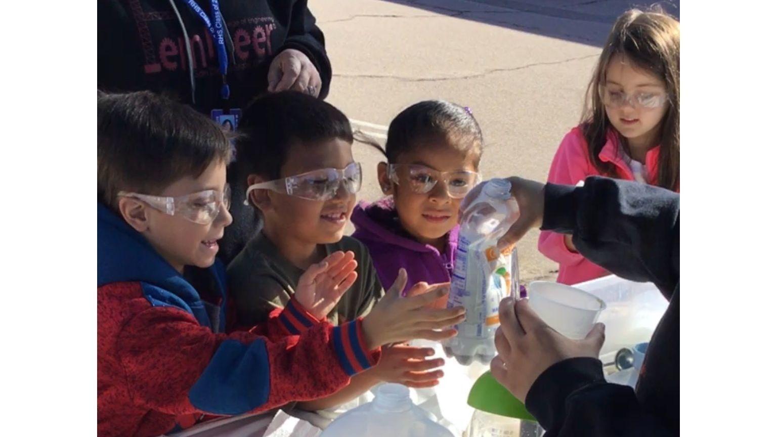 Ramona Elementary School kindergarten students participating in science experiments are Bryan Scanlan, Anthony Patino, Leslie Hernandez-Cruz and Reilly Vermeren.