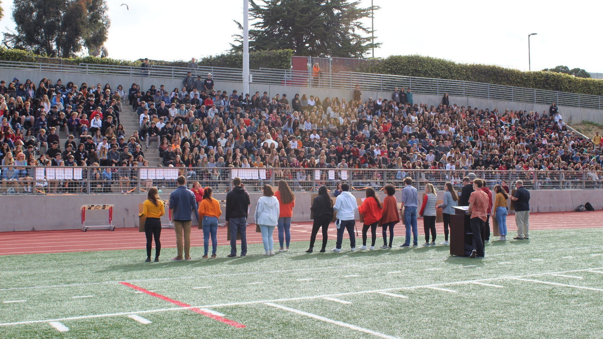 About a thousand LJHS students packed the football stands for the event.