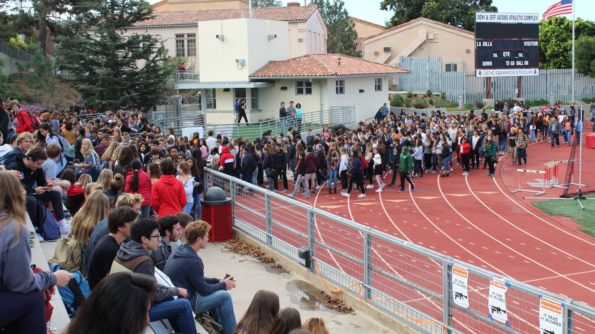Students file into the stands at 9:57 a.m.