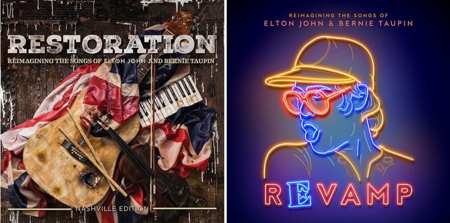 Covers for two new albums saluting the music of Elton John and Bernie Taupin. (Universal Music Group Nashville; Island Records)