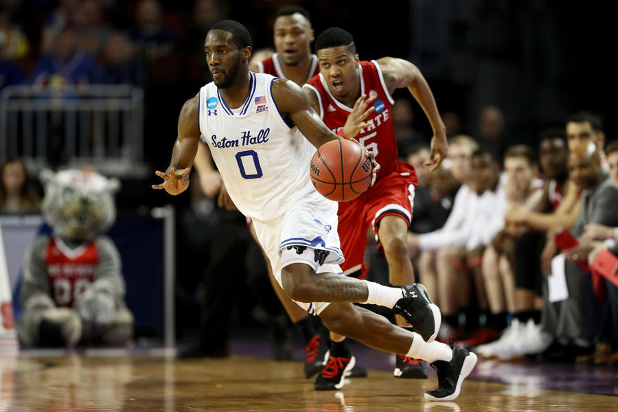 Seton Hall's Khadeen Carrington dribbles the ball in the second half against NC State. (Jamie Squire / Getty Images)