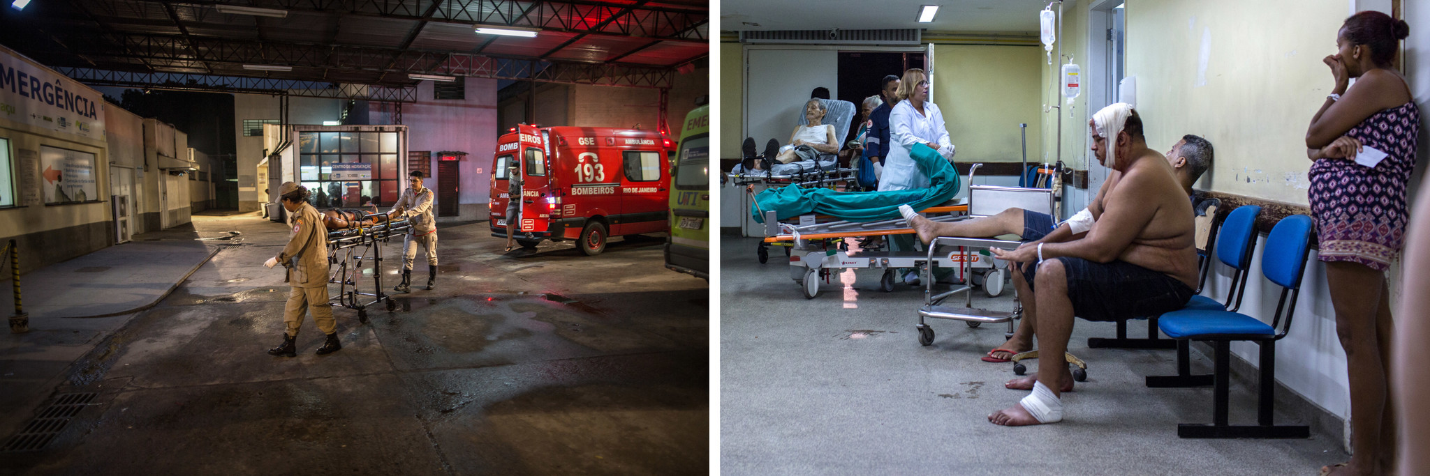 An ambulance arrives with an injured person at Nova Iguacu General Hospital in Rio de Janeiro