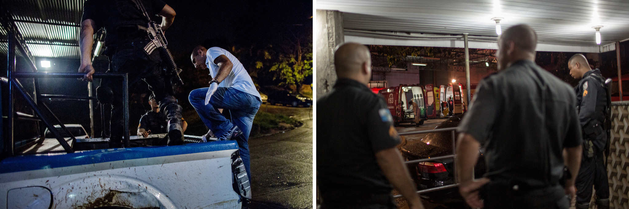 Left, A police car arrives with two gunshot victims at Nova Iguacu General Hospital. Right, police o