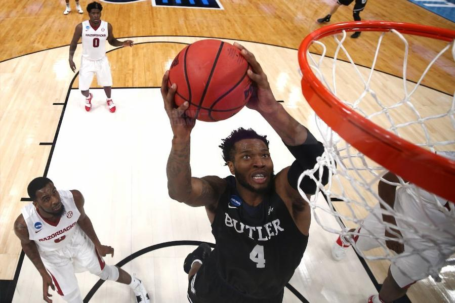 Butler's Tyler Wideman dunks the ball during an NCAA Tournament game against Arkansas. (Elsa Garrison / Getty Images)