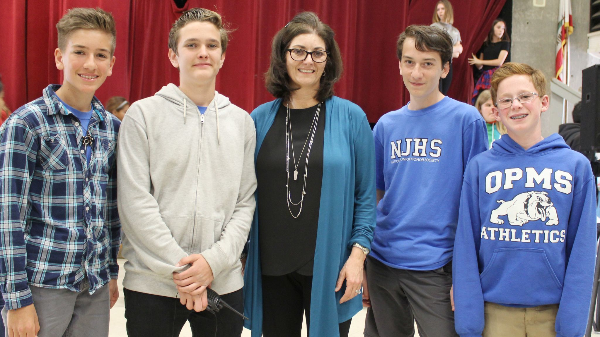 "Olive Peirce history teacher Andrea Marootian sets up a Lip Sync Battle with National Junior Honor Society members Ryan Kaufman, Jacob Hayes, William ""Adam"" Moe, Taylor Mackenze."