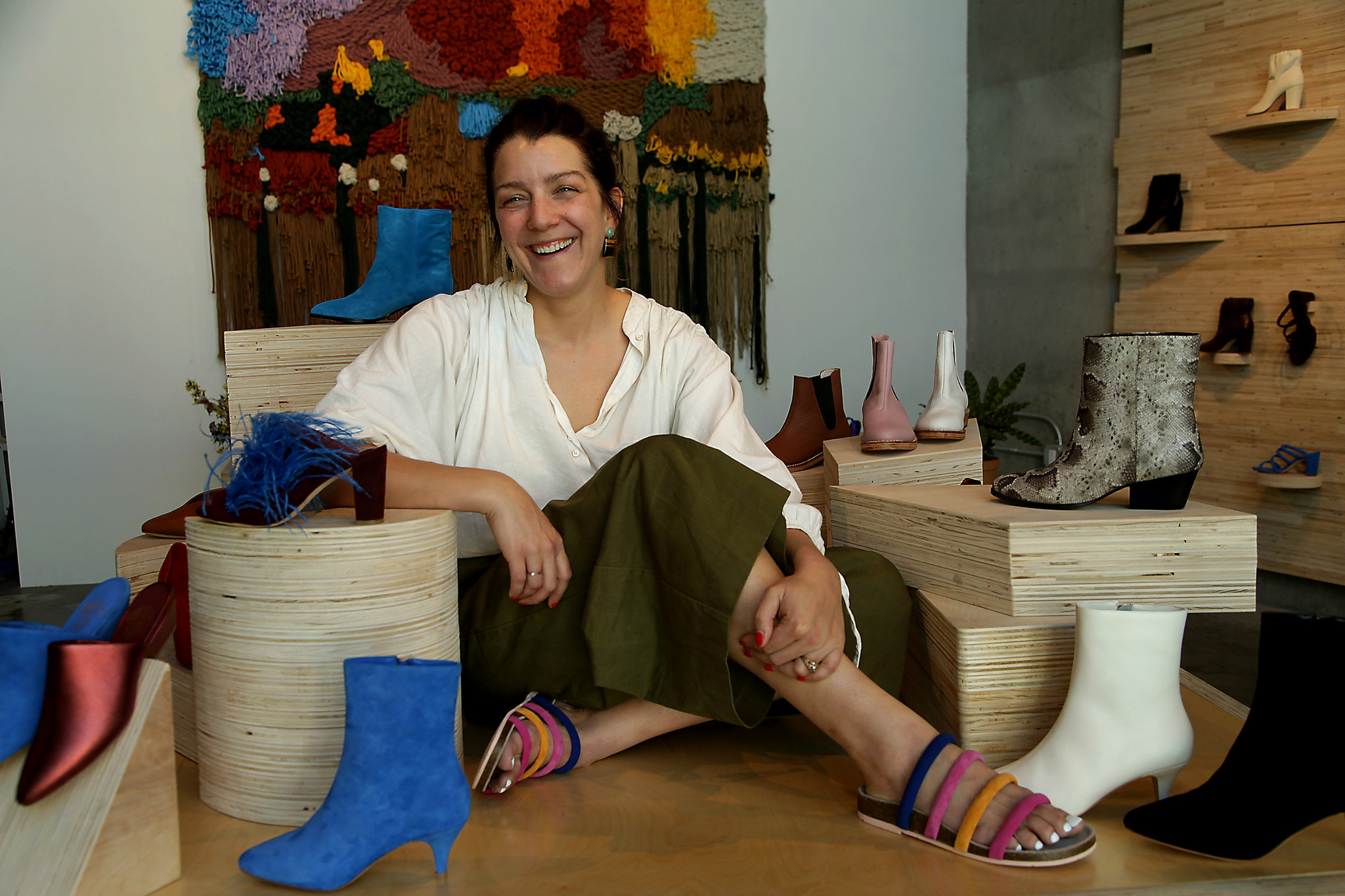 Shoe designer Charlotte Stone at her pop-up space at Platform in Culver City.