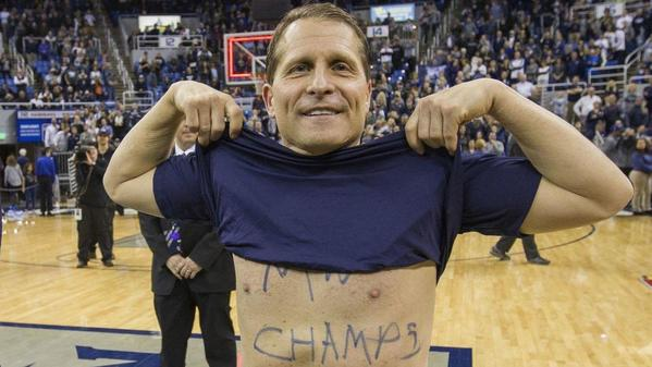 Nevada coach Eric Musselman can't seem to keep his shirt on