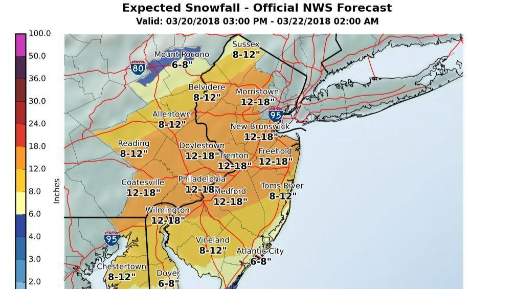Lehigh Valley forecast is for 9-15 inches of...