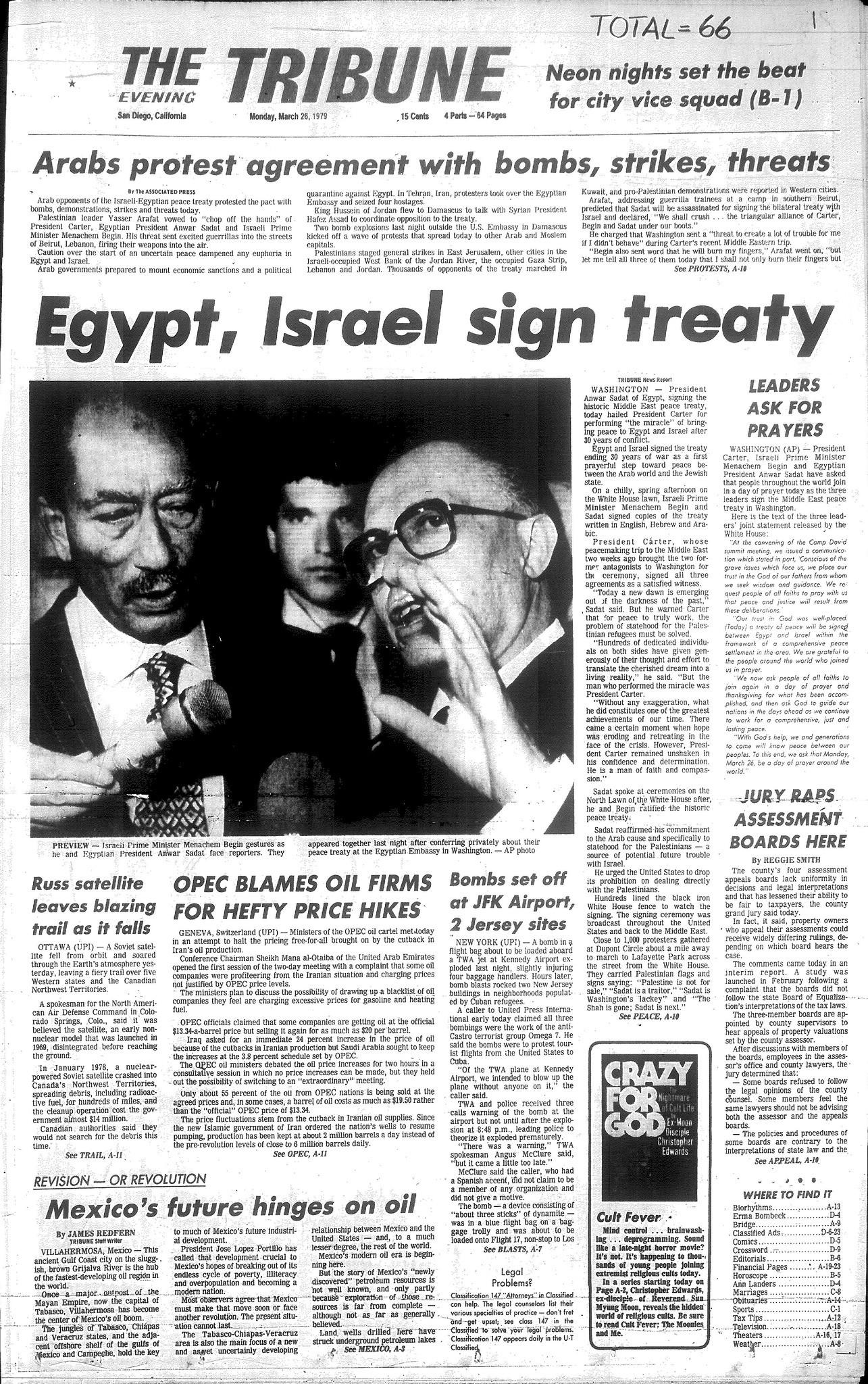 Sadat Begin Sign Peace Treaty The San Diego Union Tribune
