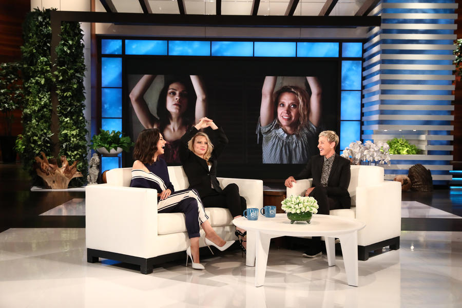 """The Spy Who Dumped Me"" stars Mila Kunis, left, and Kate McKinnon debut the trailer for the film on ""The Ellen DeGeneres Show."" (Michael Rozman / Warner Bros.)"