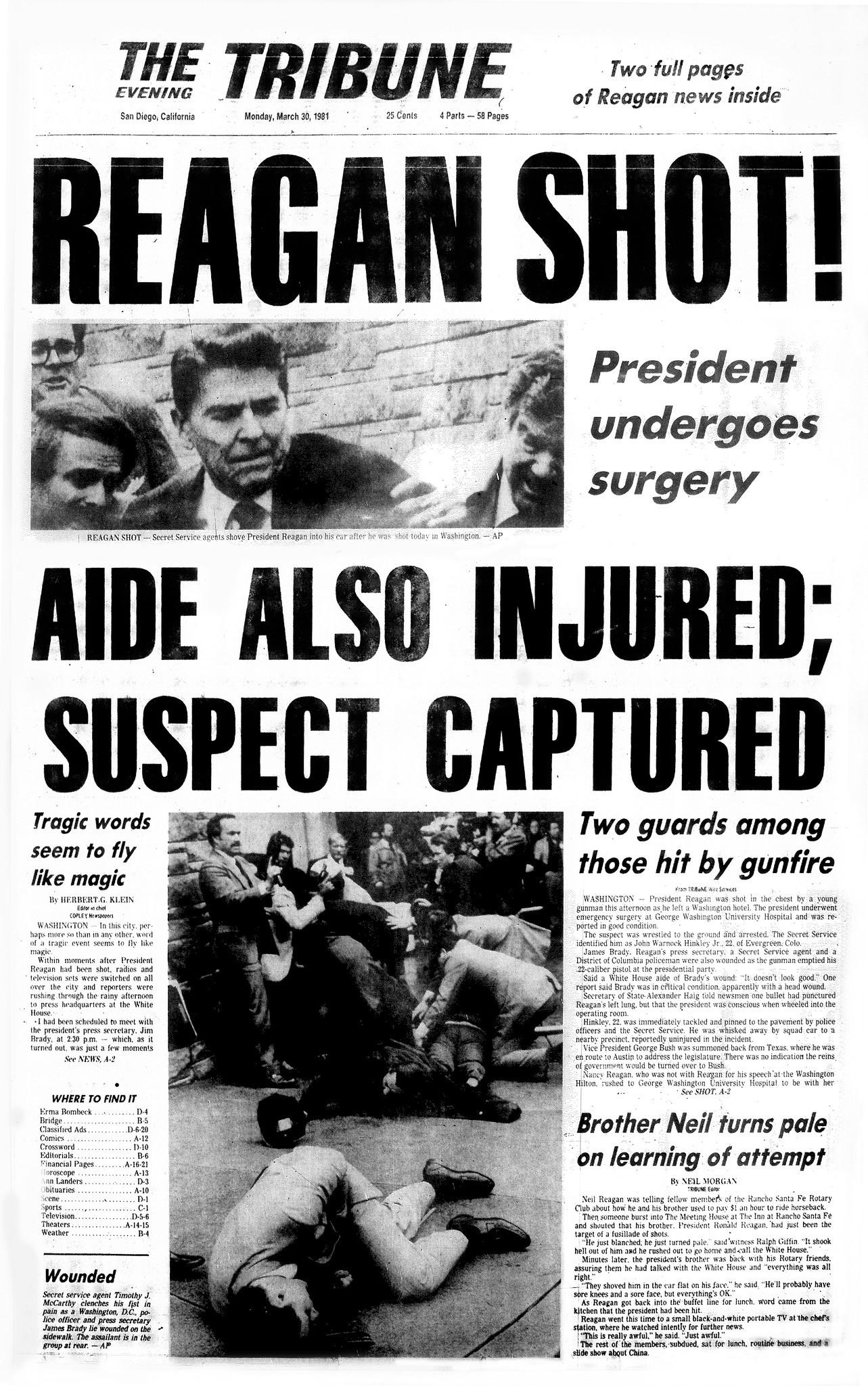 March On Washington Anniversary >> President Reagan shot - The San Diego Union-Tribune