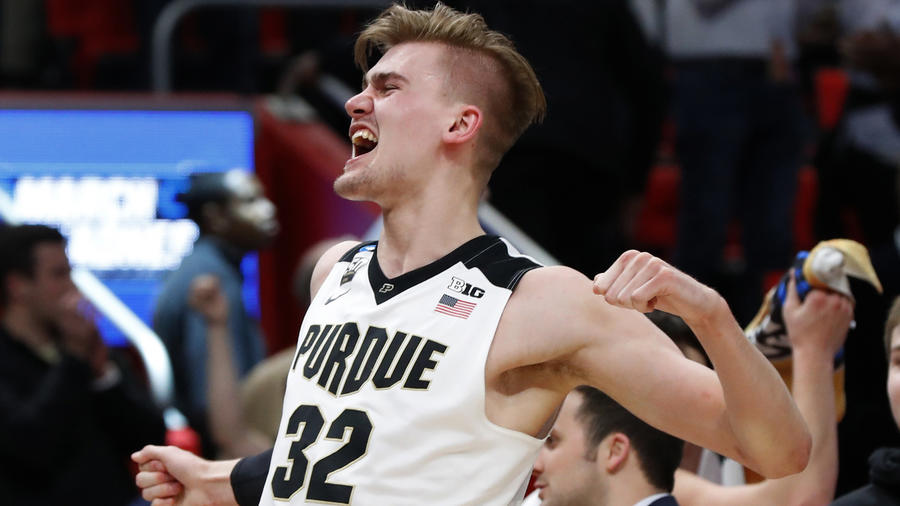 Purdue forward Matt Haarms celebrates a win over Butler on Sunday. (Paul Sancya)
