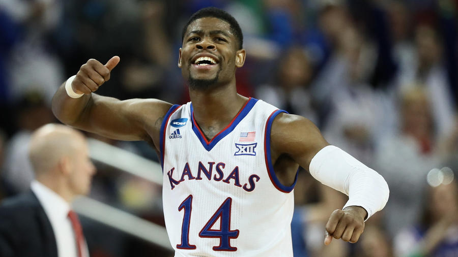 Kansas guard Malik Newman after scoring against Seton Hall during a second-round game. (Jamie Squire / Getty Images)