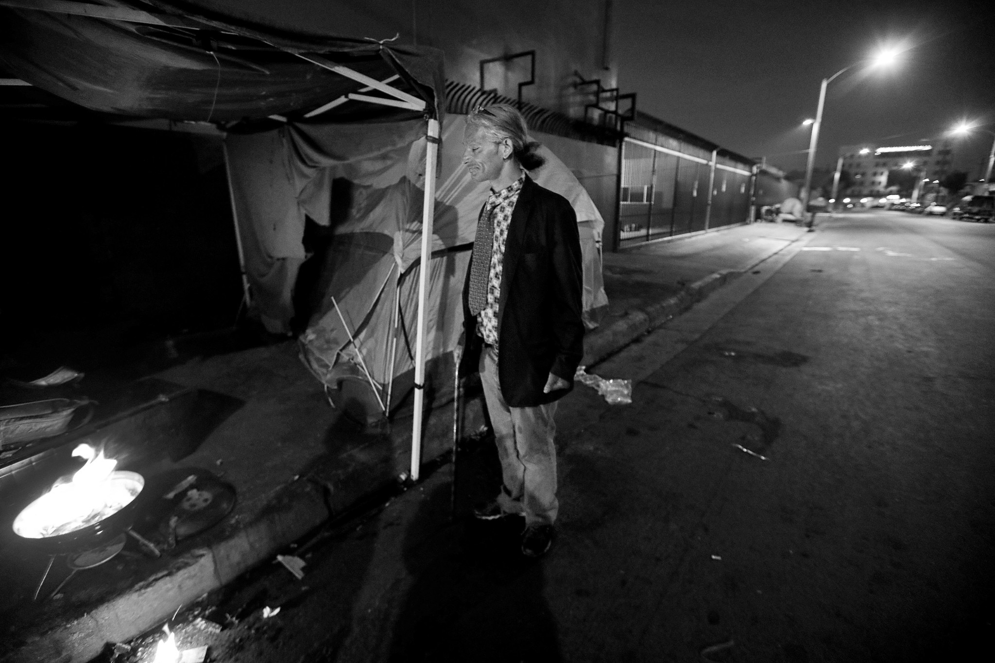 LOS ANGLES, CA FEBRUARY 2, 2018: Pre dawn - Cat hangs out joking around and talking with his chil