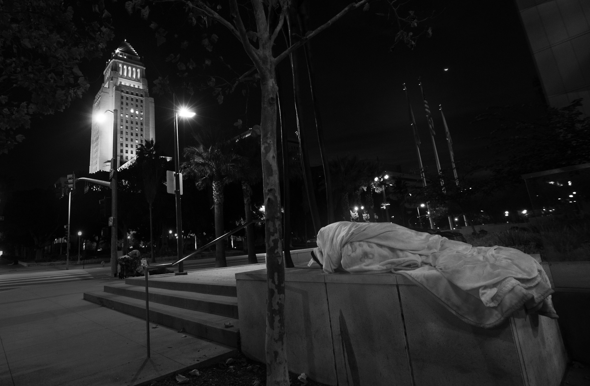A PERSON sleeps at 1st and Spring streets, across from Los Angeles City Hall in November. The number