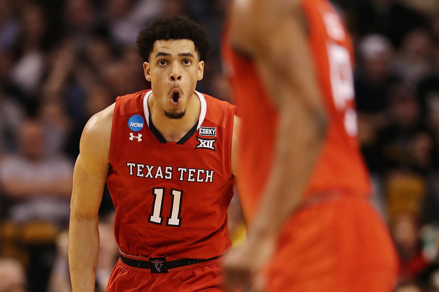Texas Tech's Zach Smith celebrates as the Red Raiders open a big lead against Purdue during the second half Friday night. (Elsa Garrison / Getty Images)